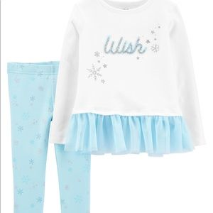 🆕2-Piece Wish Peplum Top & Snowflake Legging Set